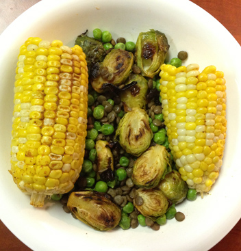 corn vegetables lentil lunch